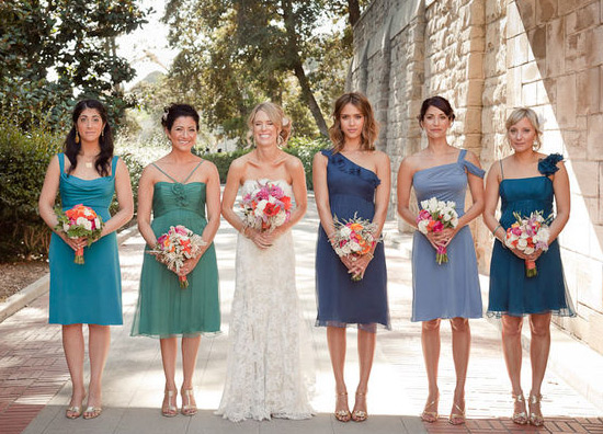 wedding pictures group different colors
