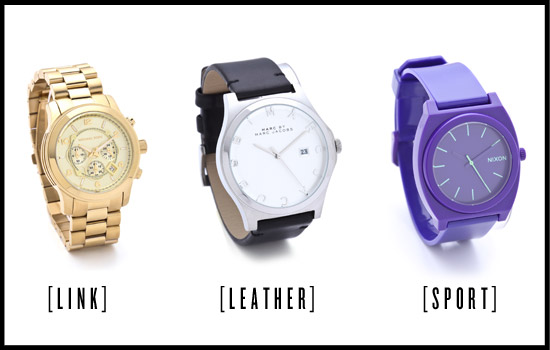 From left: Michael Kors Men's Oversized Watch, Marc by Marc Jacobs Ladies ...