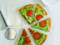Arugula pesto pizza