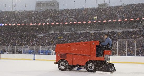 The Zamboni® clearing the ice at the NHL's 2008 Winter Classic outdoor game in Orchard Park, NY.