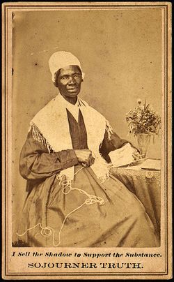 "Sojourner Truth's official portrait, commemorative copies of which (""the shadow"") were sold to finance her ministry (""the substance"")."